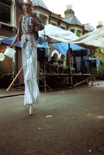 Claremont street party. Stilts